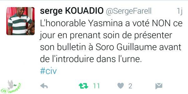 Tweet de Serge KOUADIO au sujet du NON de @yasminaouegnin by @maei9
