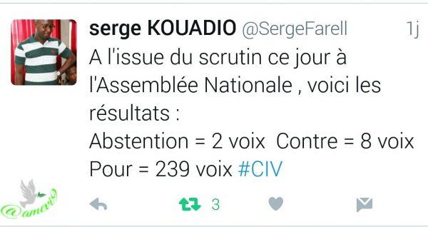 Tweet de Serge KOUADIO au sujet du vote des députés by @amevi9